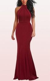 Modern Jersey Halter A Line Sleeveless Formal Evening Dress With Ruffles