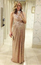 Glamorous Sequined A-line Maternity Prom Dress Straps Sleeveless