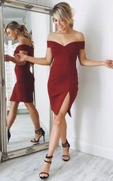 Sheath Sleeveless Chiffon Off-the-shoulder Zipper Knee-length Homecoming Dress