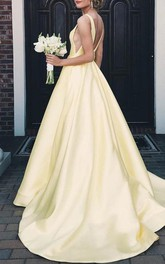 Satin Floor-length Court Train A Line Sleeveless Solid Formal Dress with Ruffles