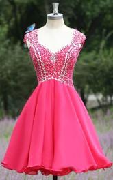 Modern V-neck Cap Sleeve Chiffon Homecoming Dress With Crystals