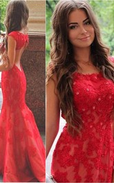 Sexy Red Lace Appliques Mermaid Evening Dress Sweep Train Jewel