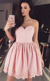 Taffeta Short A Line Sleeveless Romantic Adorable Homecoming Dress