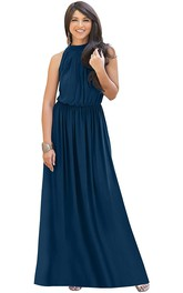 Simple Chiffon Halter High Neck A Line Evening Dress With Ruching