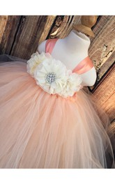 Empire Floral Bodice Ruffled Tulle Ball Gown With Beadings