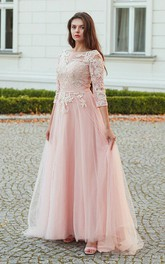 Lace Tulle Floor-length Brush Train A Line 3/4 Length Sleeve Romantic Prom Dress