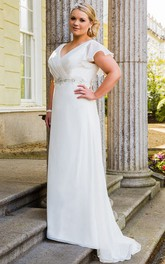 V Neck Ruffled Short Sleeve Bridal Gown With Lace Up And Crystals