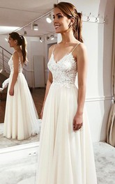 Cute Simple Spaghetti Wedding Dress With Lace Appliques And Ethereal Tulle Skirt