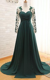 Elegant Long Sleeve Dark Green Evening Dress 2018 Chiffon Long With Appliques