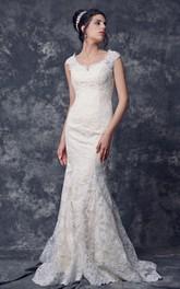 Cap Sleeve Low V Neck Sheath Long Lace Dress With Illusion Back