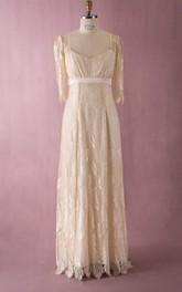 Lace Simple-Designed V-Neck V Back Dress