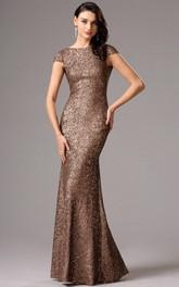 Sheath Floor-Length Bateau Short Sleeve Sequins Backless Dress