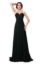 Sleeveless A-line Chiffon Dress With Illusion Back