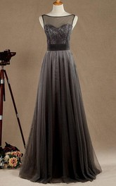 Long Tulle&Satin Dress With Beading