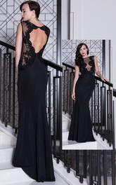 Sheath Floor-Length Lace Sleeveless Bateau Chiffon Prom Dress With Keyhole Back