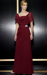 Maxi Cowl Poet-Short-Sleeve Broach Chiffon Formal Dress With Low-V Back