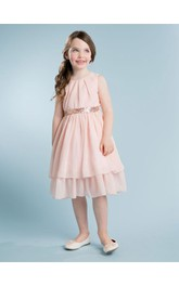 Sleeveless A-line Layered Chiffon Short Dress With Sequined Sash and Pleats