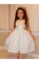 Bateau Neck Sleeveless A-line Ankle Length Tulle Dress With Flower Sash