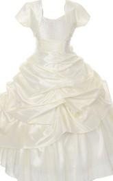 Sleeveless V-neck A-line Ruffled Dress With Detachable Jacket