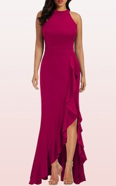 Simple Jersey Sleeveless Halter Sheath Evening Dress With Ruffles and Split Front