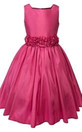 Sleeveless A-line Pleated Dress With Flowers Detachable Jacket