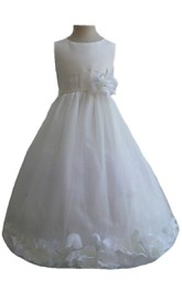 Sleeveless A-line Ruched Dress With Flowers