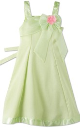 Sleeveless A-line Dress With Flowers and Bow