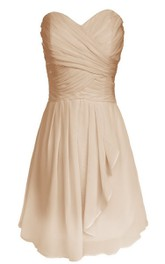 Sweetheart Short Tiered Dress With Pleats
