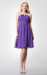 Sleeveless V-cut Neck Ruched Short Chiffon Dress With Zipper Back