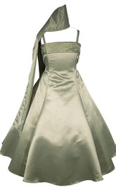 Sleeveless A-line Dress With Spaghetti Straps and Bow
