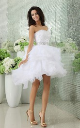 Strapless Tiers Short Dress With Ruffles and Beadings