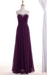 A-line Maxi Sweetheart Bell Beading Chiffon Dress