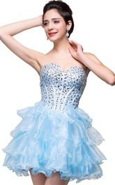 Glamroous Sweetheart Crystal Homecoming Dress 2018 Organza