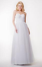 Beautiful Sleeveless A-line Pleated Tulle Gown With Convertible Straps