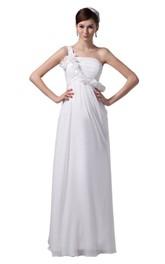 One-shoulder Appliqued Bodice Long Chiffon Dress