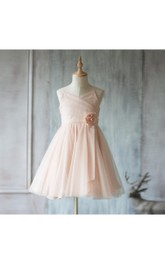 Spaghetti Straps V Neck A-line Pleated Tulle Short Dress With Flower