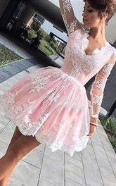 A-line Ball Gown Long Sleeve Lace Scalloped V-neck Zipper Short Mini Homecoming Dress