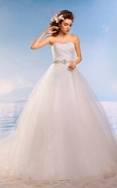Ball Gown Floor-Length Sweetheart Sleeveless Corset-Back Tulle Dress With Waist Jewellery And Ruching