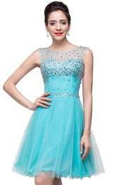 Classic Sleeveless Tulle Short Homecoming Dress With Crystals