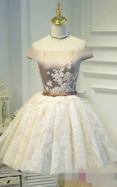 Ball Gown Sleeveless Satin Lace Off-the-shoulder Lace-up Short Mini Homecoming Dress