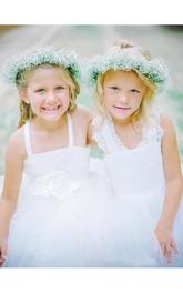 Lovely Tulle Lace White Flower Girl Dress Cross Back