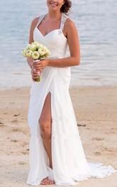 Vintage Beach V Neck Beaded Backless Front Split Sheath Bridal Gown