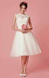 Aristocratic Cap-sleeve High Neck Tea-length Dress With Lace Top