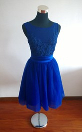 Short Sleeveless A-line Chiffon Dress With Appliques