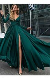 A-Line Satin V-neck Long Sleeve Low-V Back Dress