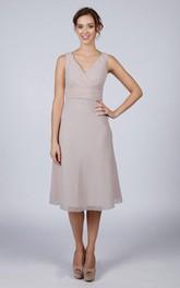 V Back V Back A-line Chiffon Short Dress Silver