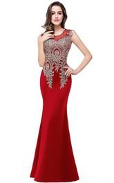 Sleeveless Satin Mermaid Dress with Scoop Neckline