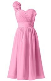 Floral One-shoulder Ruched Short Dress With Band