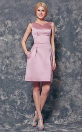 V-neck A-line Short Satin Dress With U Back
