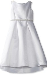 Sleeveless A-line Taffeta Dress With Beadings and Bow